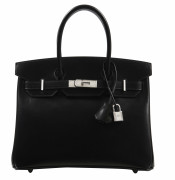 HERMÈS 2015  Sac BIRKIN 30 Box noir Garniture métal argenté guilloché  BIRKIN 30  bag Black box calfskin leather S...
