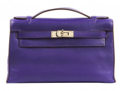 HERMÈS 2011  Pochette KELLY Veau Swift violet Garniture métal argenté palladié  KELLY clutch Purple Swift calfskin l...