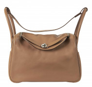 HERMÈS 2007  Sac LINDY 34 Veau Swift beige Garniture métal argenté palladié  LINDY 34 bag Beige Swift calfskin leath...