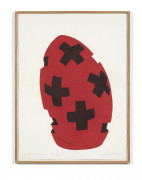 David NASH (Né en 1945) Black crossed red egg - 2003Black crossed red egg - 2003 Pochoir en couleurs