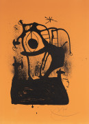 Joan MIRÓ (1893 - 1983) Magnétiseur fond orange - 1969 Lithographie en noir sur fond orange