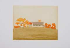 Alex KATZ (Né en 1927) Small Cuts - House and Barn - 2008 Aquatinte en couleurs