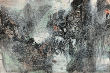 CHU Teh-Chun (1920 - 2014) SYNTHESE HIVERNALE C - 1988 Huile sur toile