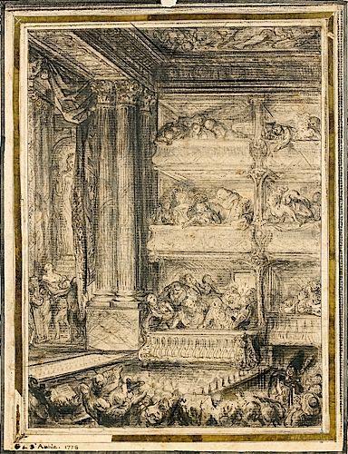 Gabriel-Jacques de SAINT-AUBIN Paris, 1724 - 1780 LE COURONNEMENT DE...