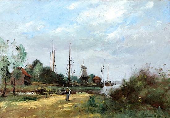 Paul-Désiré TROUILLEBERT Paris, 1829 - 1900 Paysage à la lavandière et au...
