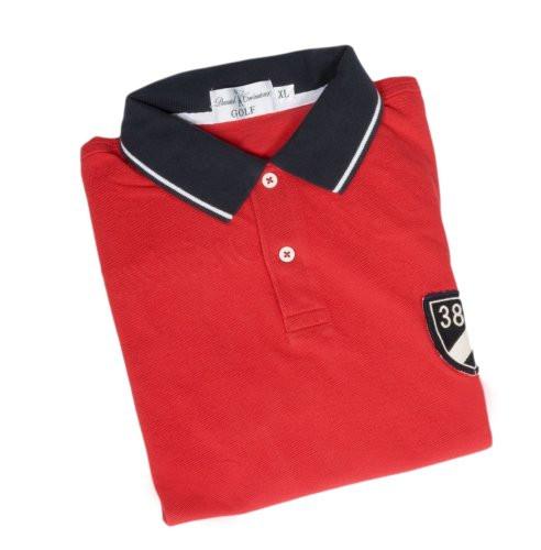 DANIEL CREMIEUX - Polo rouge et marine en coton à manches courtes, blason  bleu marine 14238473e81