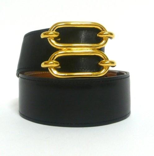 3b391dcdaf4 HERMES Paris Ceinture 85 cm réversible en box noir et cuir courchevel gold