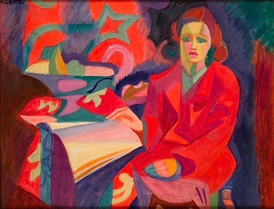 4546fecd748 André LHOTE (1885-1962) FEMME AU MANTEAU ROUGE Gouache sur papier