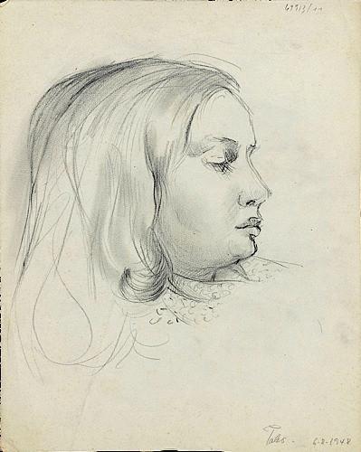 Hector POLEO (1918 - 1989) PORTRAIT DE MARIA-ALEXANDRA POLEO, FILLE DE...