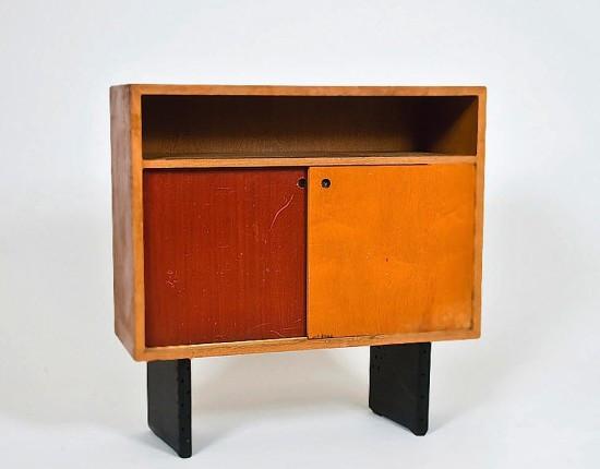 escande meuble de rangement 1950 structure en bois portes coulissantes en bois multiplis teint
