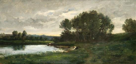 Karl-Pierre Daubigny Paris, 1846 - Auvers-sur-Oise, 1886 Lavandière au bord...