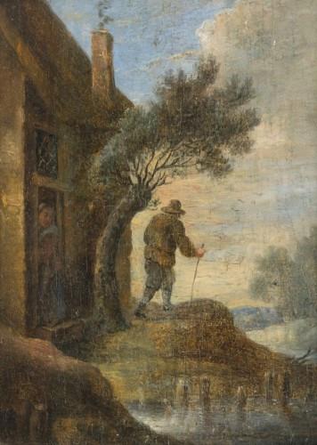 Ecole flamande du XVIIIe siècle Suiveur de David Teniers Le départ du marin