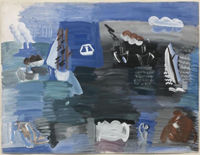 Raoul DUFY (Le Havre, 1877-Forcalquier,1953) ETUDE POUR LA MER, 1925