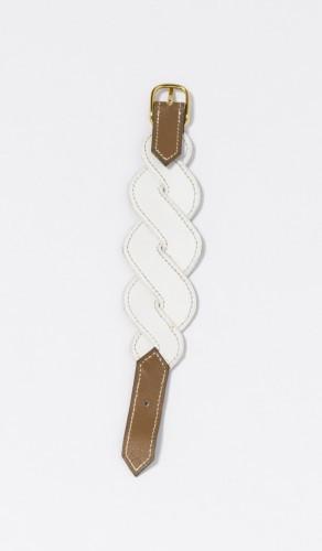 HERMES Paris made in france Bracelet en chèvre blanc et veau gras gold,  piqûres sellier b91598861aa