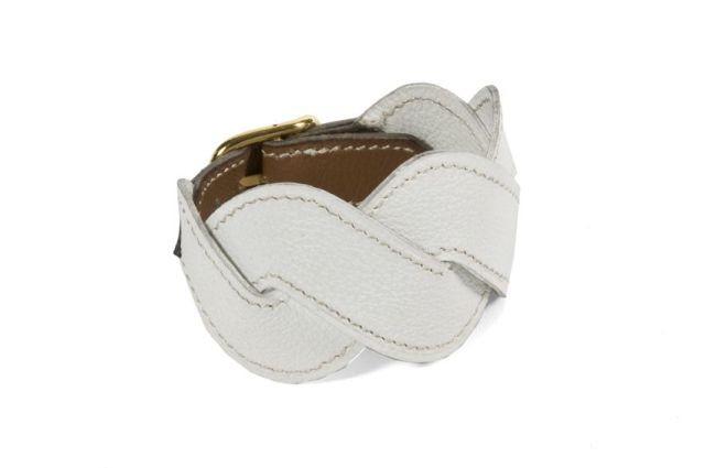 HERMES Paris made in france Bracelet en chèvre blanc et veau gras Gold,  piqûres sellier e28f126e60a