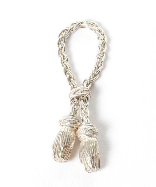 9399c3de7a HERMES Paris made in france Porte-clefs avec chaînette en argent et décor  de passementerie