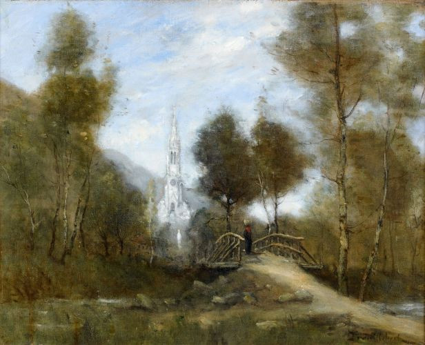 Paul-Désiré Trouillebert Paris, 1829 - 1900 Paysage au pont et à l'église