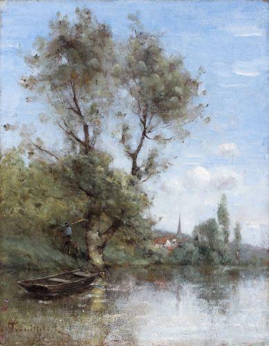 Paul-Désiré Trouillebert Paris, 1829 - 1900 Le retour du pêcheur