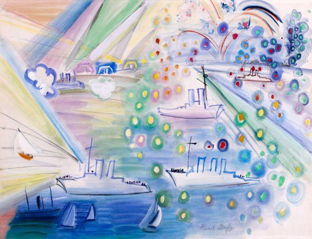 Raoul DUFY (Le Havre, 1877-Forcalquier,1953) LE FEU D'ARTIFICE A TROUVILLE...