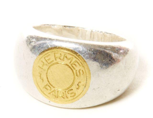 HERMES Paris Bague en or et argent, figurant un clou de selle, siglée aef3b4edfe5