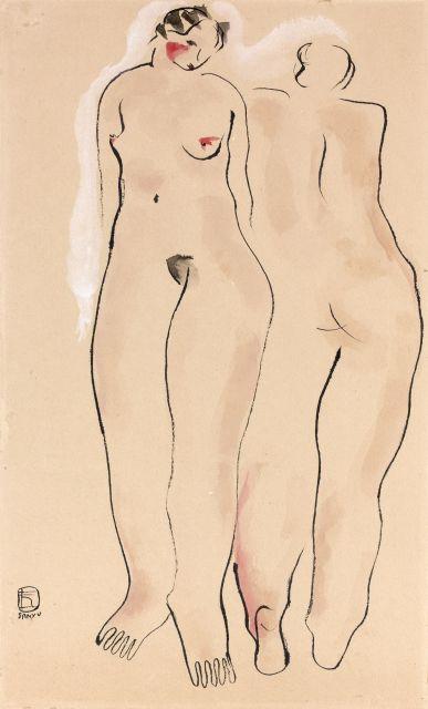 SAN YU ou CHANG YU (Chine, 1900 - Pantin,1966) DEUX NUS DEBOUT