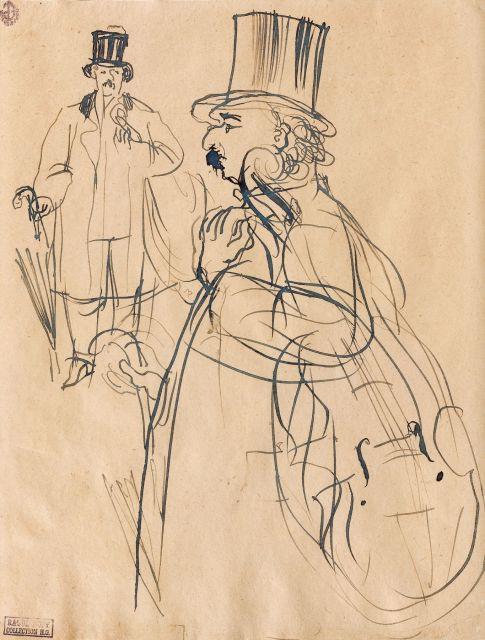 Raoul DUFY (Le Havre, 1877-Forcalquier,1953) LE MUSICIEN - FEUILLE D'ETUDES