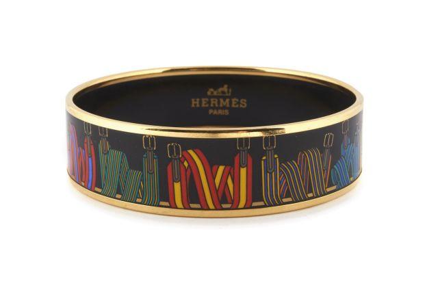 793b98436854 HERMES Paris made in austria Bracelet en émail et métal plaqué or, à décor  de