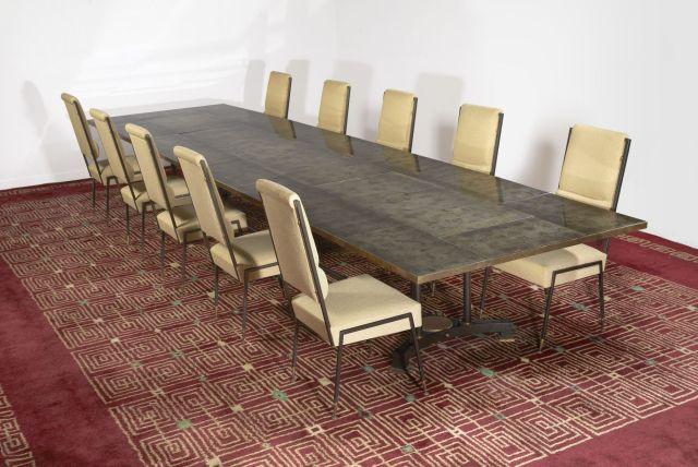 leleu decoration table de salle a manger plateau rectangulaire fond de dalles de verre