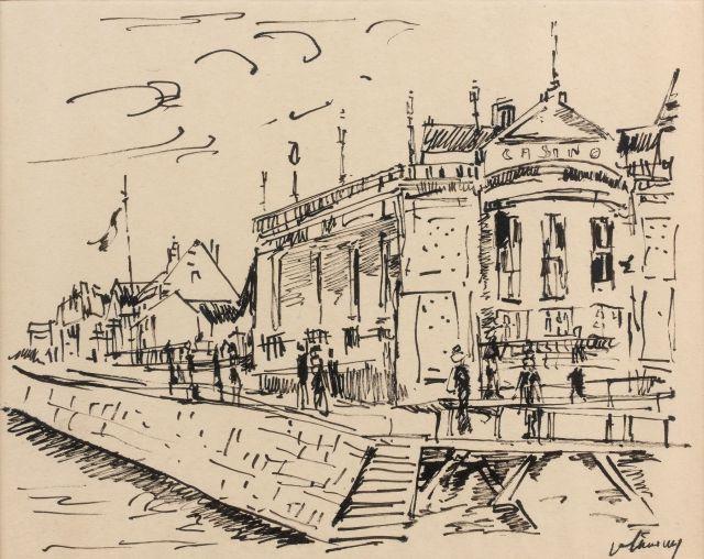 Maurice de VLAMINCK (Paris, 1876 - Rueil-la-Gadelière, 1958) VUE DE TROUVILLE
