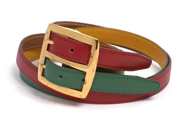 HERMES Paris made in france Double ceinture réversible en cuir Courchevel  vert et rouge d  c32275dbaec