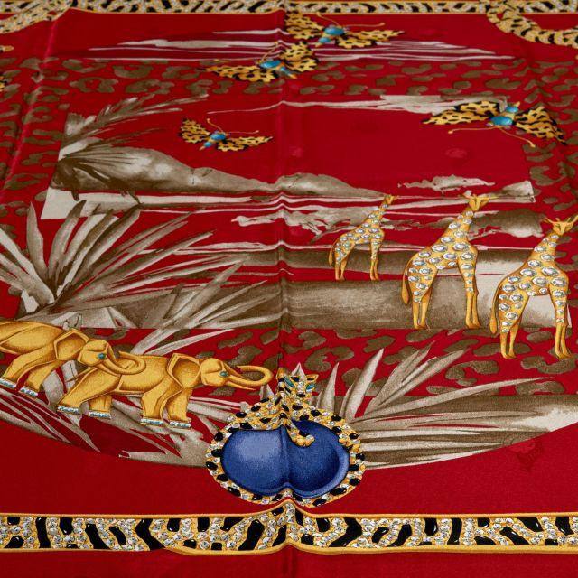 f47b70aea28b CARTIER, Carré en crêpe de soie rouge, thème d animal africain, avec