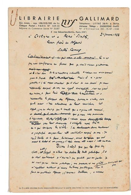 Albert Camus (1923-1960) Pour une trêve civile en Algerie. Appel d'Albert...