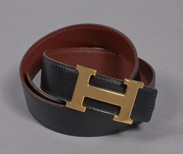 HERMES, Ceinture H en cuir noir et bordeaux avec sa boucle en métal doré, 78f80d61e11