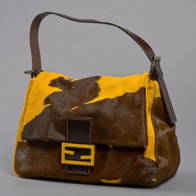 FENDI, Sac à main en peau de POULAIN bicolore marron et jaune, anse en c33342f66a8