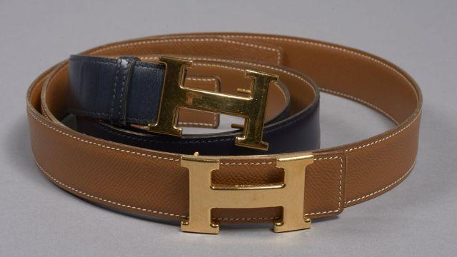 1cbb205a84f3 HERMES PARIS, Deux ceintures H  une en cuir grainé gold, taille 90,