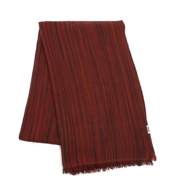 HERMES Paris Echarpe à franges en cachemire rayée rouge et noir. Tissé main  au Népal 581feaf9c19