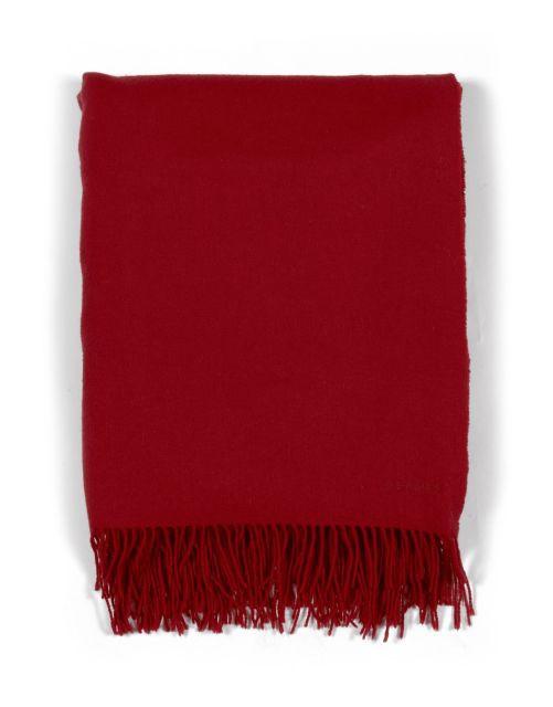 HERMES Paris made in france Plaid à franges en cachemire rouge. Dim.  environ   b401c13fbaa