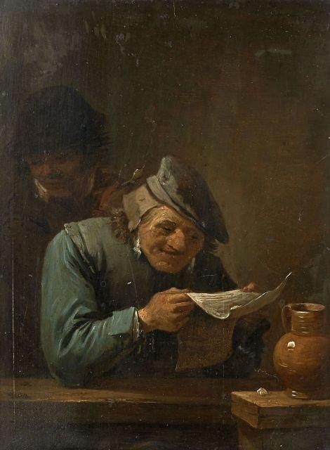 Ecole flamande vers 1700 Suiveur de David Teniers La lecture de la gazette