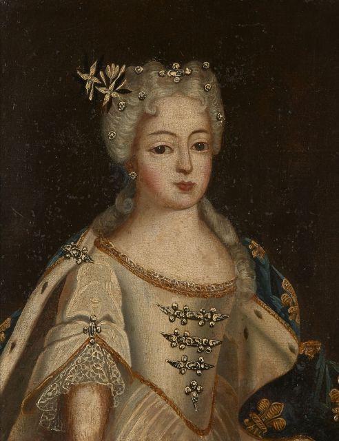 Ecole française de la première partie du XVIIIe siècle  Portrait de Louis XV et Portrait de Marie Leszczynska Deux huiles sur toiles...