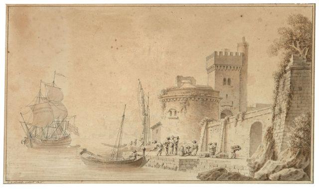 Pierre-Joseph Wallaert Lille, 1753 - Paris, 1812 Arrivée d'un navire dans...