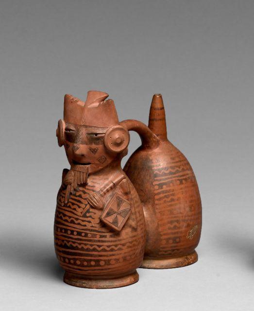 VASE SIFFLEUR À DOUBLE CORPS Culture Salinar ou Virú, Pérou Intermédiaire...