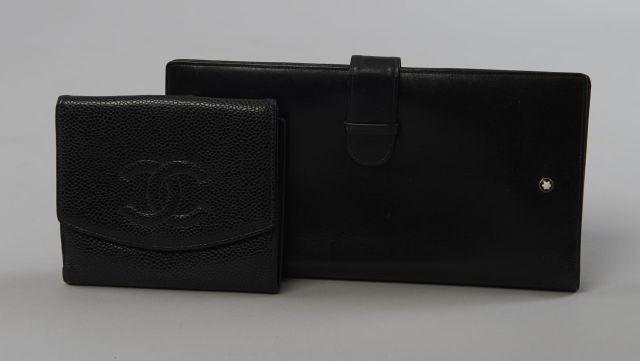 6daba7eb46f3 CHANEL, Porte-carte porte-monnaie en cuir caviar noir siglé, intérieur en
