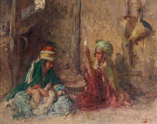 Edouard VERSCHAFFELT (1874-1955) JEUNES BERBÈRES DANS UN INTÉRIEUR Huile  sur toile 2c5e6e4f5a8
