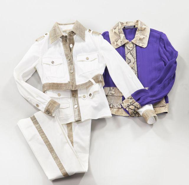 DOLCE GABANA, Ensemble veste et pantalon en coton blanc, col et ceinture  réhaussé de 4fbeb7f8ed77