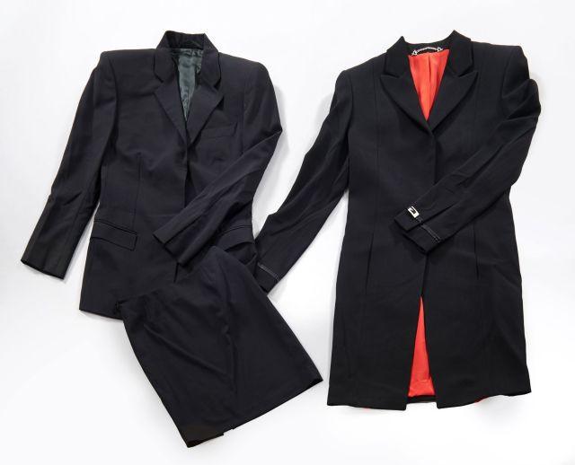 GUCCI, Manteau en laine mélangé noir, cuir verni noir et sigle de la Maison dbc3c957835c