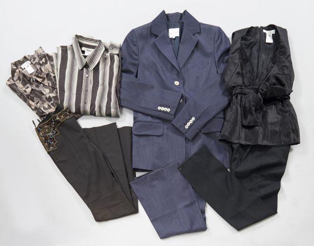 CELINE, Tailleur pantalon en laine couleur jean, T40   Top en nylon et soie  noir, T38   Chemisier en viscose dans les tons marrons à motifs  géométrique, ... 420c2b2eb920