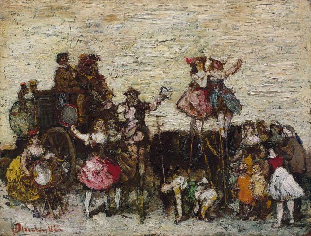 Adolphe Monticelli Marseille, 1824 - 1886 La parade des saltimbanques