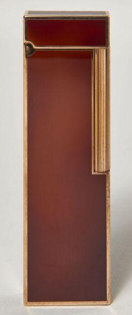 DUPONT, Briquet de table en métal doré et laque de Chine marron. Bel état 28f02df7be3