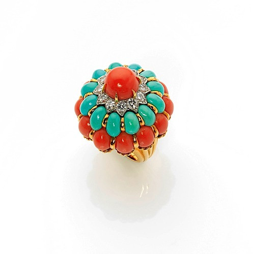 bague or turquoise corail