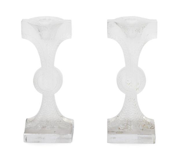 René lalique 1860 1945 paire de bougeoirs